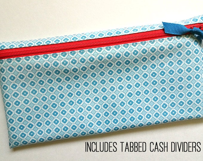 Aqua and white divided money pouch