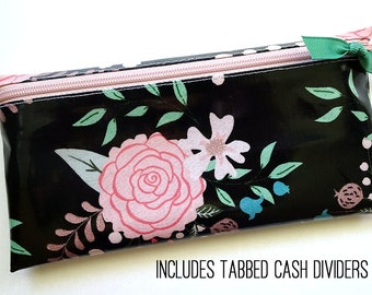 Black & pink floral cash organizer for Dave Ramsey budget