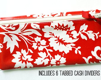 Red and cream envelope system wallet