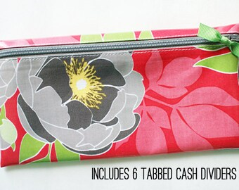 Dark pink floral cash envelope system wallet for Dave Ramsey budget