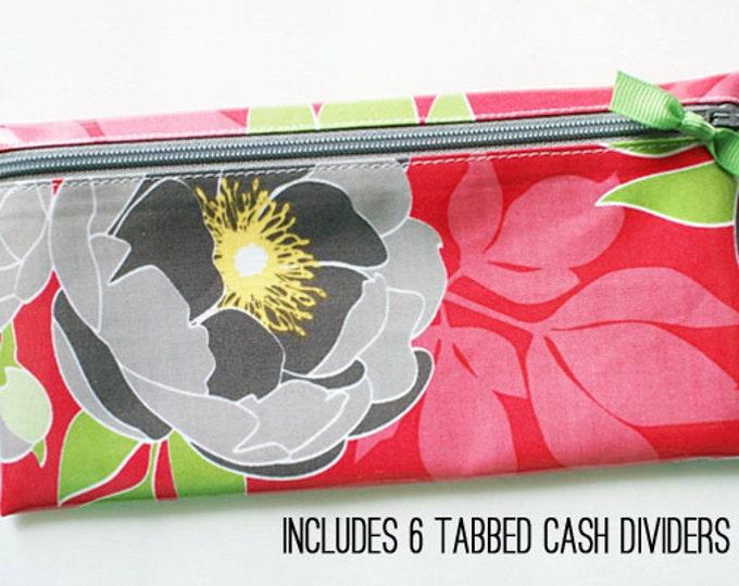 Dark pink floral cash envelope system wallet for Dave Ramsey budget