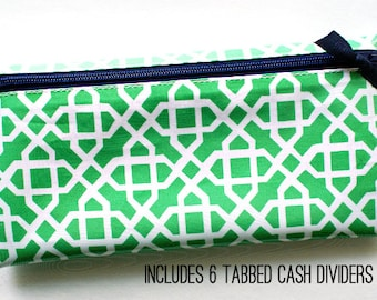 Green and white budget organizer wallet with 6 tabbed dividers