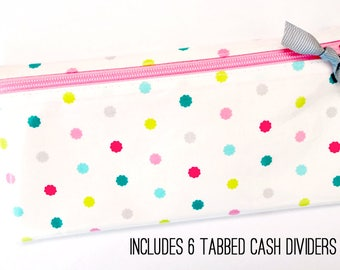 Slim coupon organizer or budget wallet with dividers | scalloped dot laminated cotton