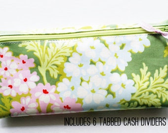 Green floral cash budgeting wallet in laminated cotton fabric with 6 category dividers