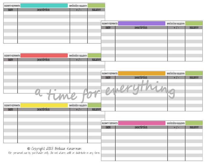 Envelope system printable cash spending logs budgeting inserts | Simple Brights