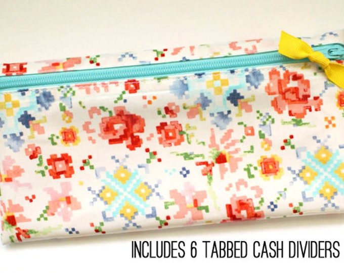 Watercolor envelope system wallet with 6 or 9 dividers