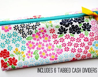 Multicolor flowers cash organizer with 6 durable dividers