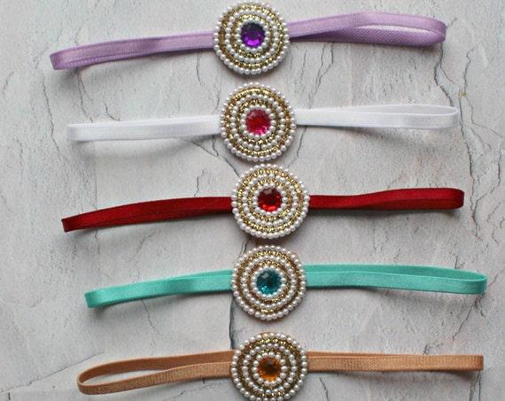 Baby Headband - 5 COLORS - You Pick 1 Pearl Headband - Desi Headbands - Baby Girl Headbands - Baby Hair Accessories -Baby Indian Hair Bows