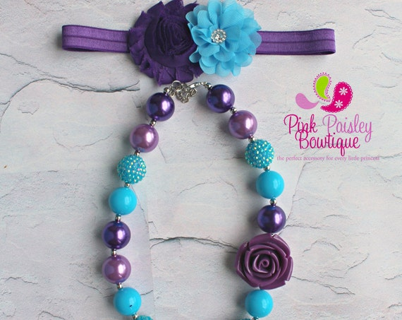 Mermaid headband set, Cake Smash headband, Purple birthday, Baby Girl chunky necklace, cake smash photo prop, Baby Girl Hair Accessories
