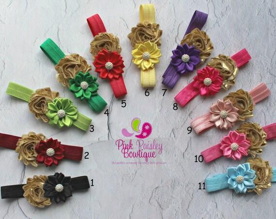 Baby Headband - You Pick 1 - Newborn Headbands- Baby Girl Headbands - Infant Headband -Baby Hair Accessories - Baby Hairbows - Gold headband