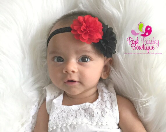Baby Headband - Red & Black Bows - Baby Girl Headband - Newborn Hairbows - Baby Hairbows - Baby Hair Accessories - Black Baby Headbands