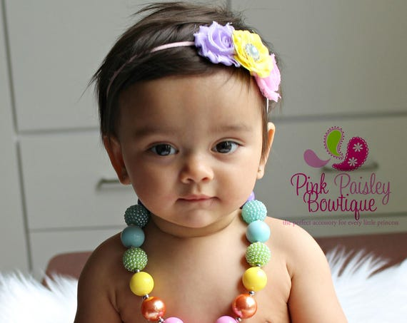 Baby Chunky Necklace and headband set, Baby Hair Accessories, Baby Photo Prop, Cake Smash Props, Baby Jewelry, Baby Necklace, Bubblegum