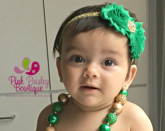 St Patricks Day Necklace Headband Set, Green & Gold Baby Bows, Green Baby Headband Necklace Set. Baby Hair Bows. Green Gold Cake Smash Prop