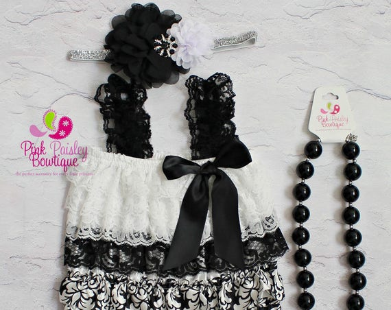 Black Birthday Outfit - Ruffle Rompers - Baby Romper - 1st Birthday Outfit - Baby Dress- Cake Smash Outfit - Baby Headband Romper Set