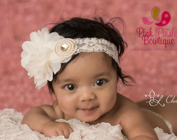 Baptism Headbands. White or Ivory Newborn Headbands. Baby Hair Accessories. Christening Headbands. Infant Headbands. Baby Baptism. Ivory Bow