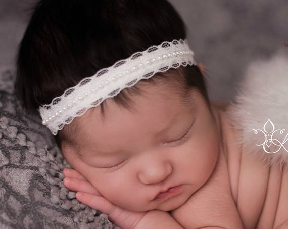 You Pick 1 Halo Baby Headband. Newborn Photos. Baby Girl Headbands. Baptism Headband. Baby Hairbows. Baby Hair Accessories. Cream Headband