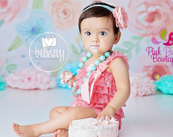 Baby Romper and headband 2 or 3 pc SET, Coral Aqua Cake Smash Outfit, Baby girl 1st birthday outfit, Baby Birthday Outfit, Floral Cake smash