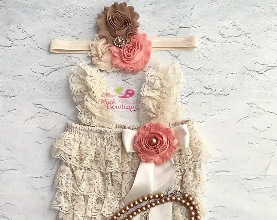 Fall color cake smash outfit Baby Girl 1st Birthday Outfit - Christmas party - Baby Romper - Dark Ivory  gold Cake Smash Outfit