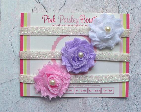Set of 3 Mini Shabby Newborn Baby headbands set.  Infant Headband Set. Toddler Headbands. Glitter shabby bows. Baby Hairbows. Headband baby