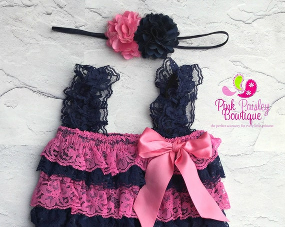 Navy petti lace romper and headband 2 PC  SET, Baby girl 1st birthday outfit, Nautical Birthday, Whale Baby romper, Cake Smash Outfit