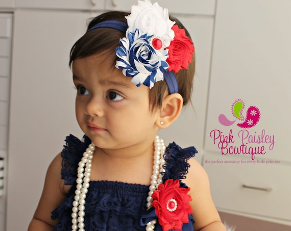 Petti Lace Romper- Ruffle Rompers - Baby Romper - Navy Blue Petti Romper - Nautical Birthday Outfit -  Baby Rompers -  July 4th Baby Outfit