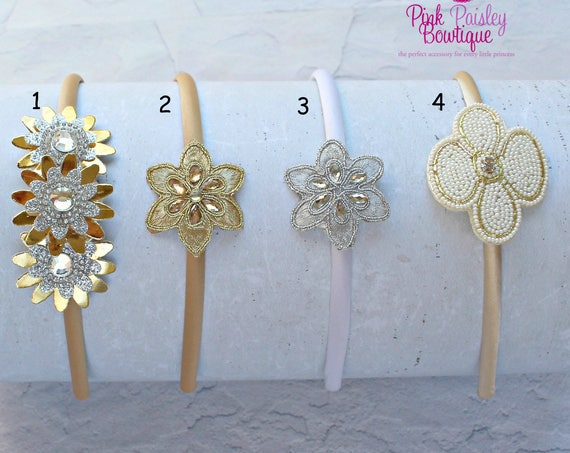 You Pick One Hair Band- Toddler Headband - Toddler Accessories - Ivory Baby Headband - Baby Girl Headbands- Baby Hairbows - Ivory Gold