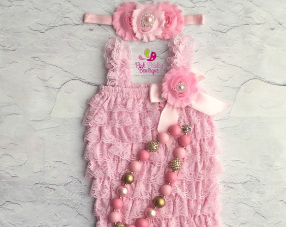 Pink Cake Smash Outfit - Baby Girl 1st Birthday Outfit -  Pink Petti Romper - Baby Girl Rompers -Cotton Candy Birthday - 1st Birthday Photo