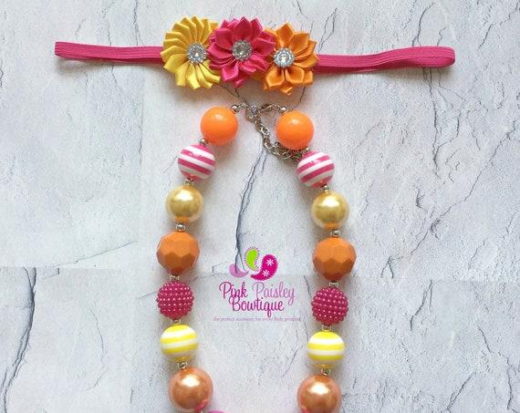 Baby Girl Chunky Necklace, Pink Lemonade Necklace, You are my sunshine Bubblegum Necklace, Baby Necklace, Sunshine Birthday party Cake smash