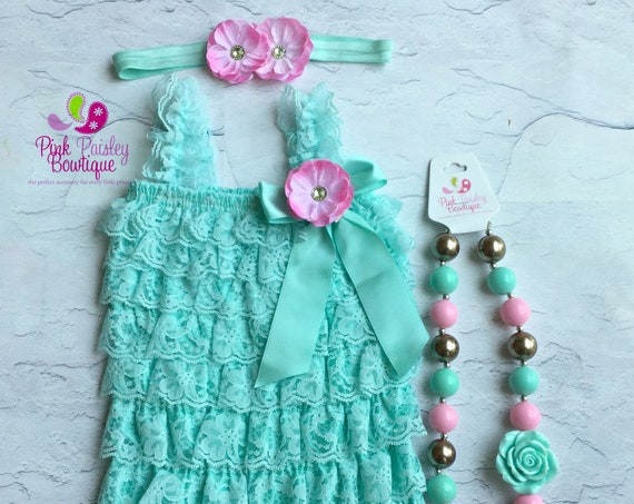 Newborn Coming home outfit 3 or 4 PC Aqua Pink Lace Petti Romper. Aqua Vintage petti romper. Baby Girl 1st Birthday Outfit. Hospital Photo