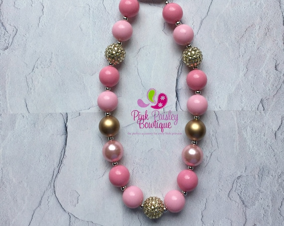 Little Girl Chunky Necklace,  Bubblegum Necklace, PINK & GOLD  necklace, Girls Necklace, Chunky baby necklace.