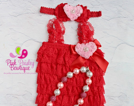 Valentine's Dress - Petti Lace Romper- Ruffle Rompers - Valentine's Day Outfit - Red Petti Romper - Birthday Outfit -  Baby Rompers