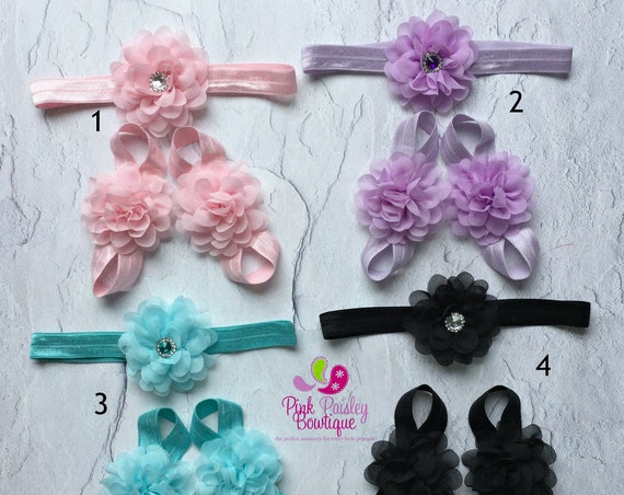 YOU PICK 1 Headband and barefoot sandal set,Baby Sandal & Baby Headband Set. Baby Sandals. Barefoot Sandals. Baby Shoes. Newborn Headband.