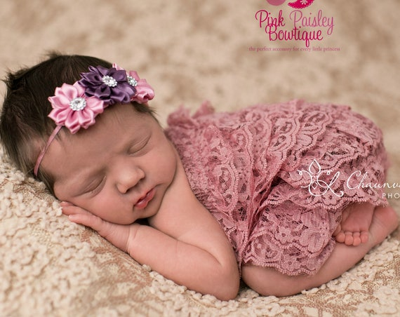 NEWBORN ROMPER SET, Pink Ruffled Lace Outfit and Matching Headband,Newborn Photo Outfit, Many Colors Available, Baby Girl Photo Outfit