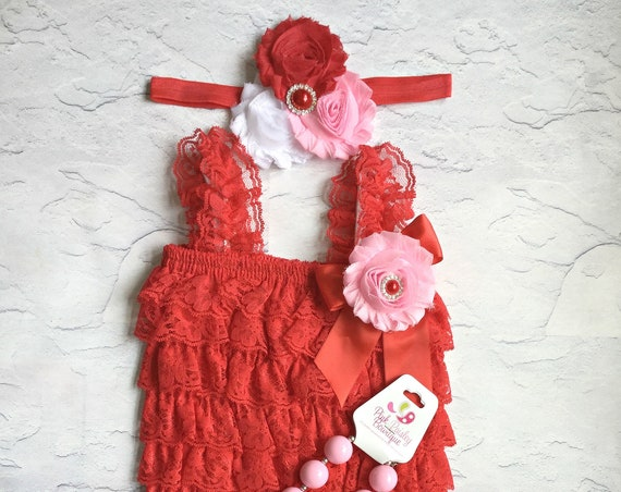 Red petti lace romper and headband 3, or4 or 5 pc SET, petti romper, cake smash outfit, baby girl 1st birthday carnival ladybug 1st birthday