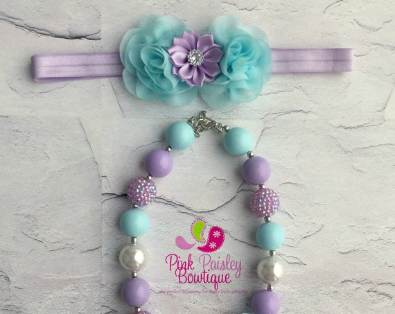 Aqua, lavender white necklace headband set,  Baby Girl 1st Birthday headband set, Baby Girl necklace set, cake smash photo prop