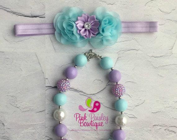 Aqua, lavender white necklace headband set,  Baby Girl 1st Birthday headband set, Baby Girl necklace set, cake smash photo prop