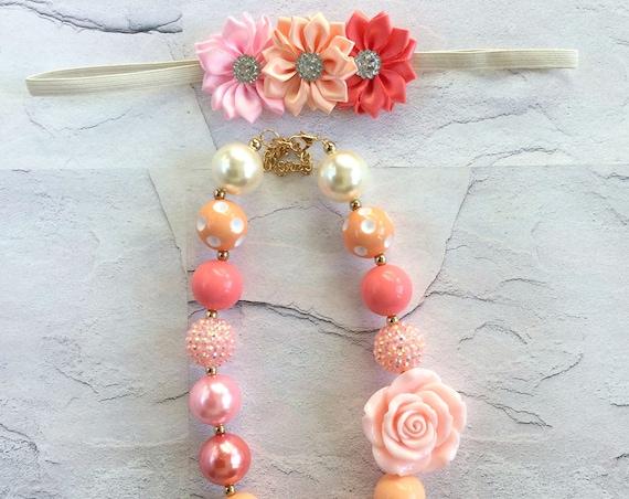Girls Necklace, Bubblegum Necklace, Girls/Toddlers Chunky Bubblegum Necklace, Multi-Color Girls Necklace, Flower Necklace, Summer Necklace
