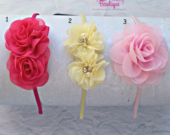 Toddler Headband - Flower Headband - Toddler Hair Accessories - Baby Hair bows - Satin Covered Headband - Toddler Bows - Toddler Hairbow