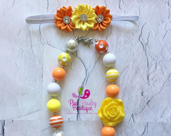 Girls Chunky Necklace, Girls Bubblegum Bead Necklace, Orange Yellow Chunky kids Necklace, Girls Necklace, Children Necklace, kids jewelry