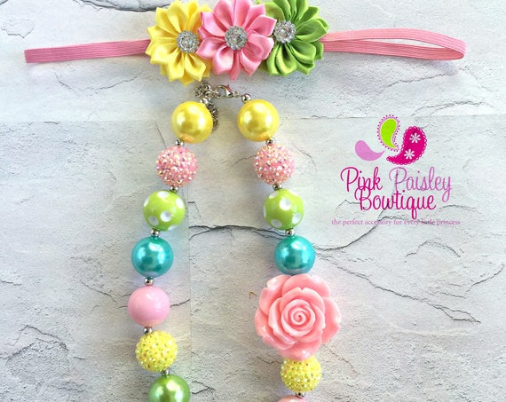 Rainbow Chunky Baby Necklace, Girls Chunky Necklace, Chunky Bubblegum Necklace, Little Girl Birthday Necklace, Baby Jewelry Toddler Necklace