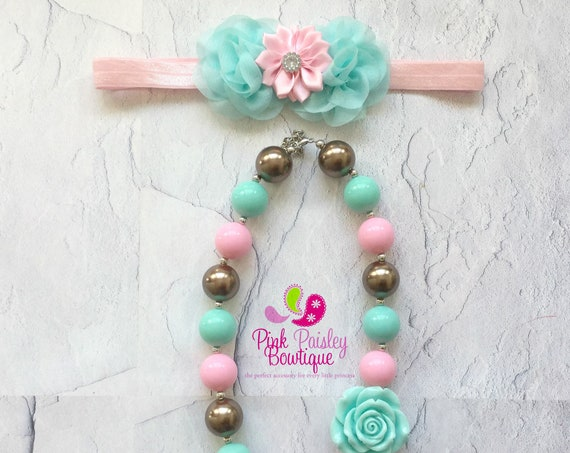 Bubble Gum Necklace, Baby Girl Chunky Necklace, Pink Mint Gold Necklace, Photo Prop Necklace Princess Birthday party,  Cake smash Photo prop