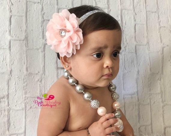Girls Chunky Necklace, Girls Bubblegum Chunky Necklace, Girls Chunky Bubble Gum Necklace, Pink and Gray Chunky Necklace, toddler necklace.
