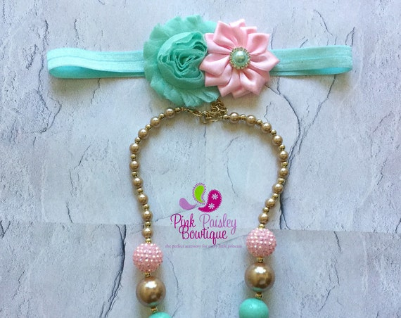 Pink Mint & Gold Chunky Necklace, Mint and Gold Baby Necklace, Gold Necklace, Pink and Gold Baby Necklace,  Baby Girls Jewelry, Bubble