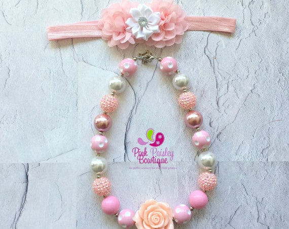 Baby Girl Chunky Necklace, Pink Bubble Gum Necklace, Big Beads Bubblegum Necklace, Photo Prop Necklace, Princess Birthday party Cake smash