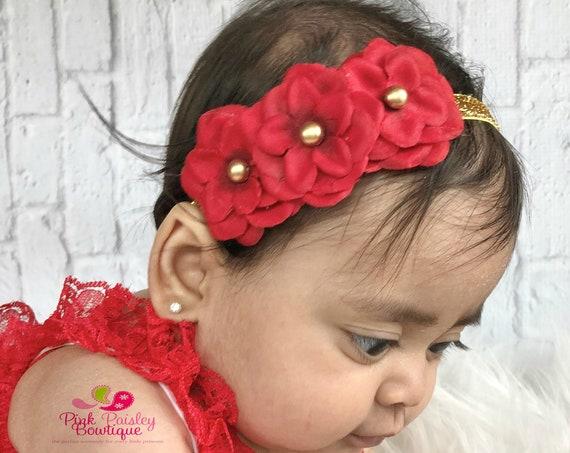 Red Gold Baby Headband - Red Headband- Baby Hairbow - Infant Headband - Gold Baby Headband - headband baby - Baby bows - Red Baby headband