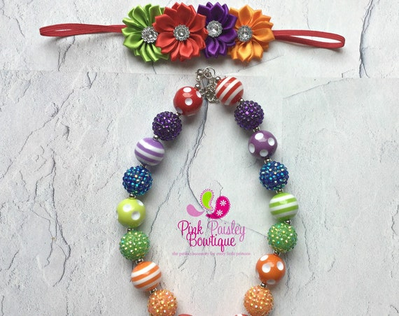 Baby Girl Chunky Necklace, Rainbow Bubble Gum Necklace, Big Beads Bubblegum Necklace, Photo Prop Necklace, Rainbow Birthday party Cake smash