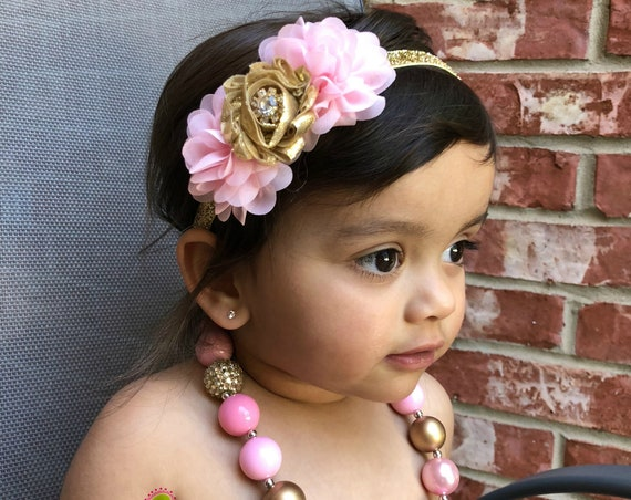 Pink & Gold  necklace headband set, Baby Girl 1st Birthday headband set, Baby Girl necklace set, cake smash photo prop