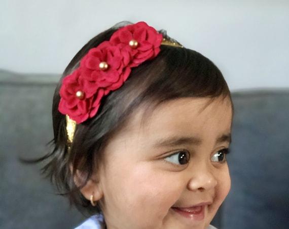 Red Gold Baby Headband - Red Christmas Headband - Infant Headband - Gold Baby Headband - headband baby - Baby bows - Red Baby headband