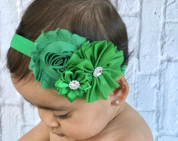 St. Patrick's headband - Green Baby Headband - Baby headband  - Green Hair bow - Toddler Headband,  Adult , Newborn - Baby Hair Accessories