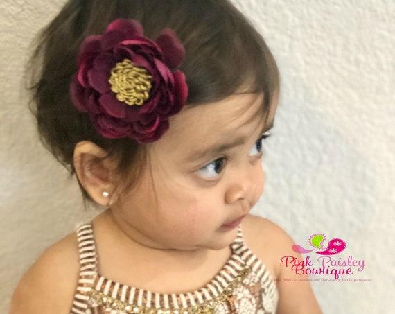 Maroon  Alligator Clip - Baby Hair Clip - Hair Bows - Ready to Ship - Bows for Fine Hair - Vintage Hair Accessory